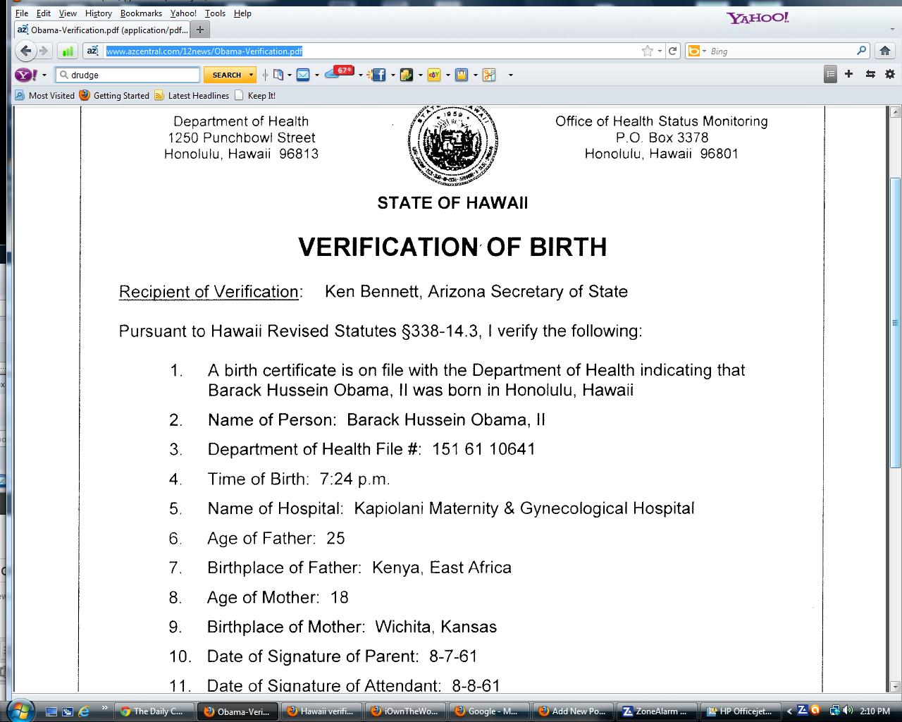 Hawaii dept of health my very own point of view state of hawaii verification of birth obama aiddatafo Image collections