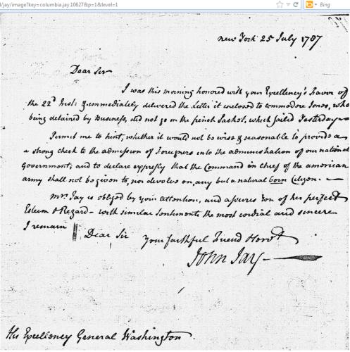 Image of John Jay letter