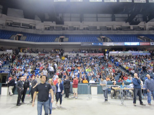Crowd filing into Donald J Trump rally, Wilkes Barre PA 4/25/2016